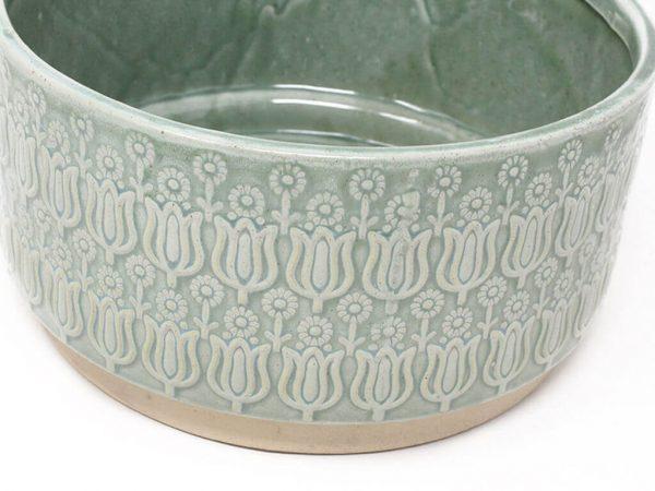Maceta color verde con plato 23cm detalle